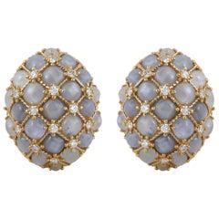 Star Sapphire with Diamond Earrings Set in 18 Karat Yellow Gold