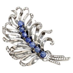 Star Sapphires and Diamonds Platinum Feather Brooch, circa 1950
