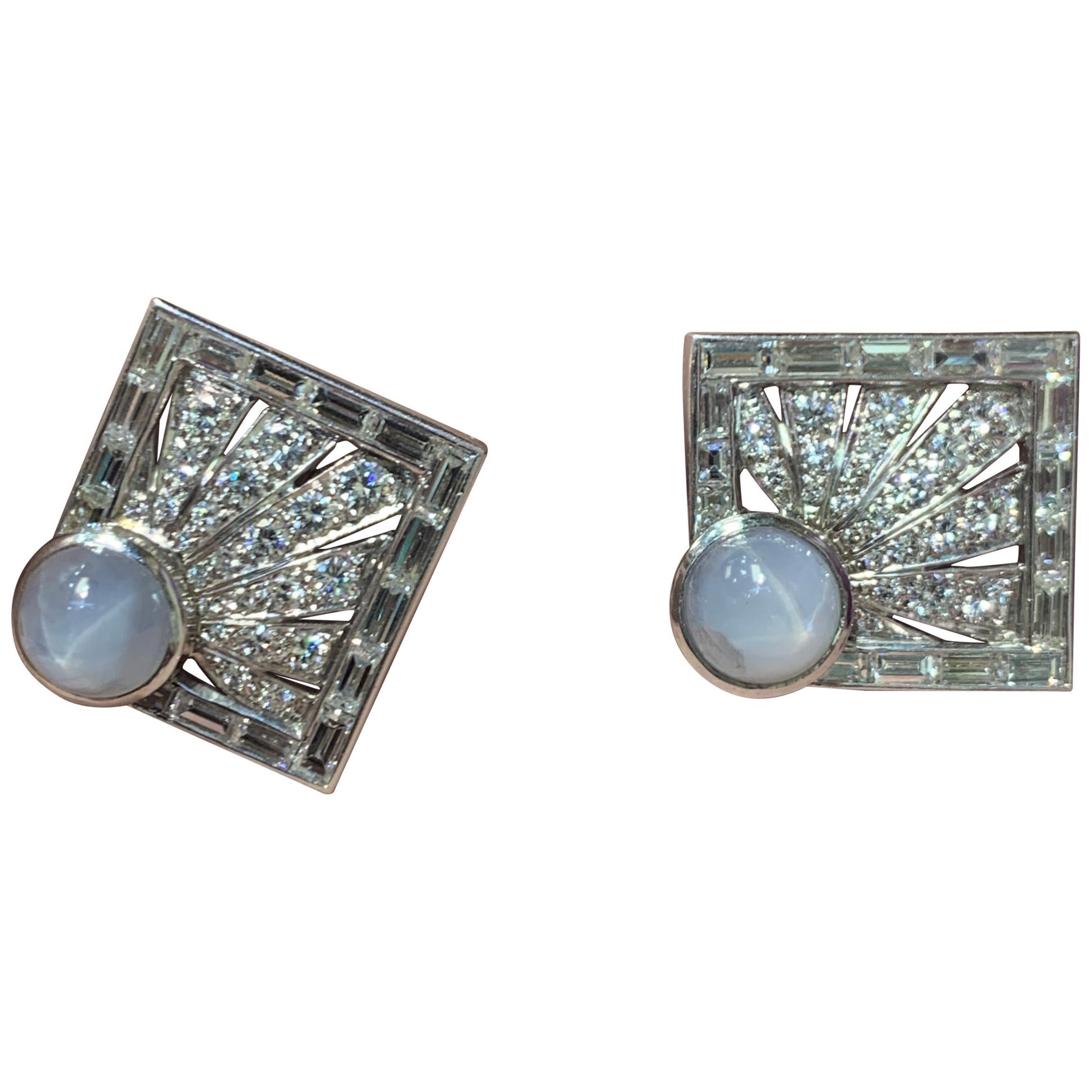 Star Sapphire and Diamond Square Cufflinks