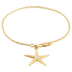 Star Shape Diamond Charm Yellow Gold Plated Silver Bracelet