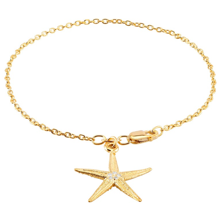 Star Shape Diamond Charm Yellow Gold Plated Silver Bracelet For Sale