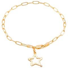 Star Shape Diamond Charm Yellow Gold-Plated Silver Bracelet