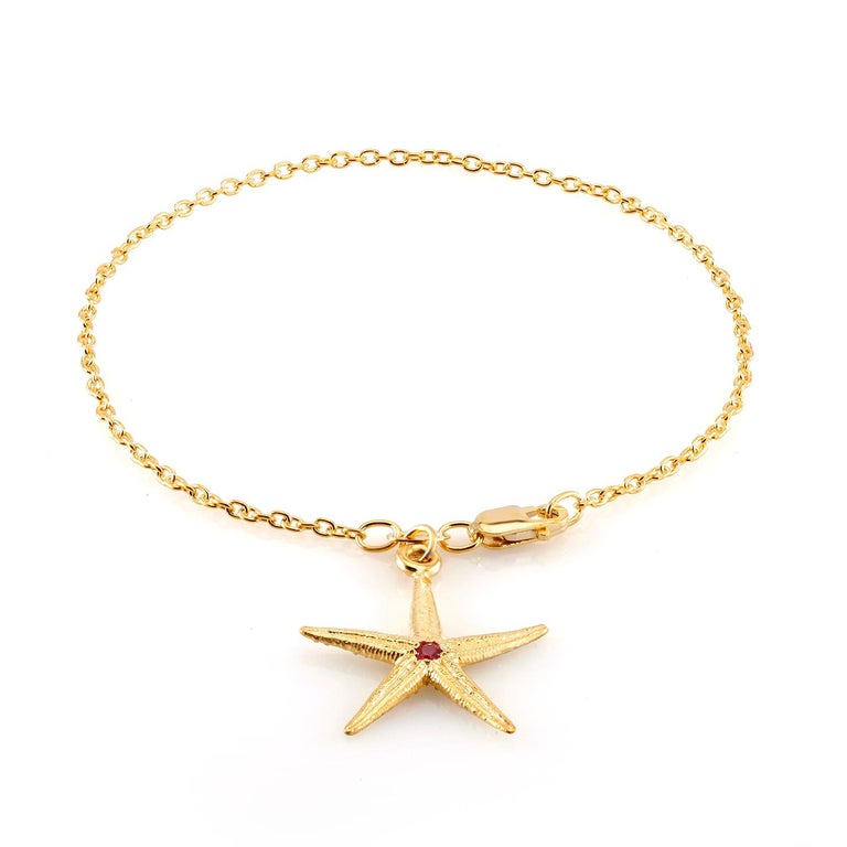 Modern Star Shape Pave set Ruby Yellow Gold Plated Silver Charm Bracelet  For Sale