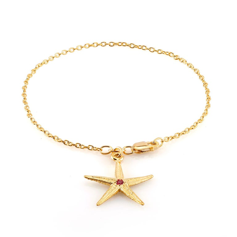 Round Cut Star Shape Pave set Ruby Yellow Gold Plated Silver Charm Bracelet  For Sale