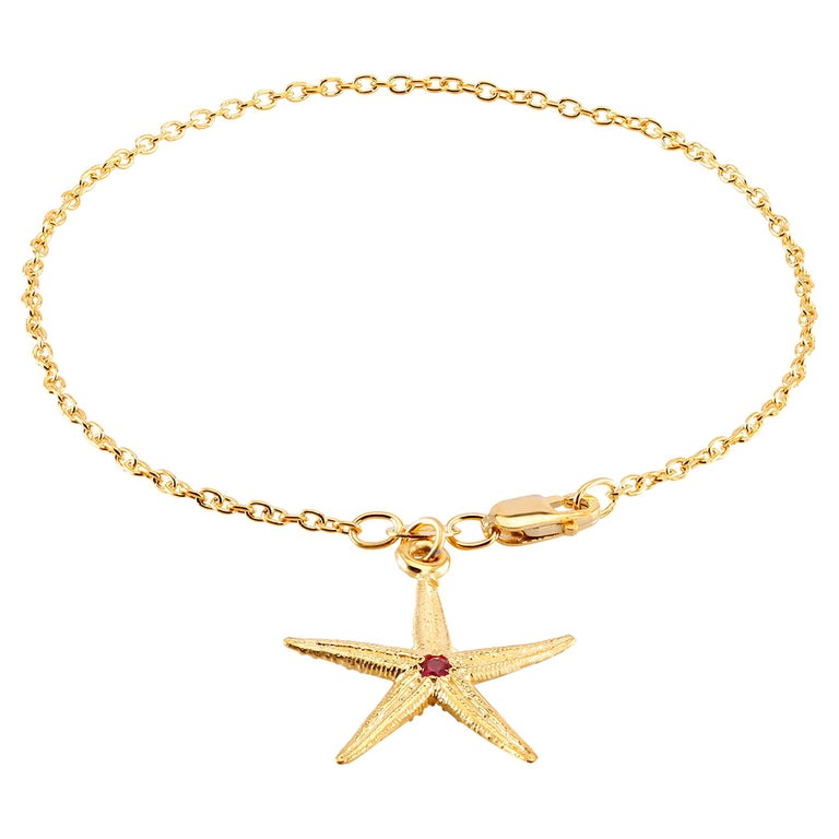 Star Shape Pave set Ruby Yellow Gold Plated Silver Charm Bracelet  For Sale