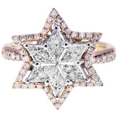 Star Shaped Diamond and Pink Diamond Combination Bridal Engagement Ring