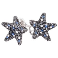 Star Shaped Diamond and Sapphire Earrings in 18 Karat White Gold