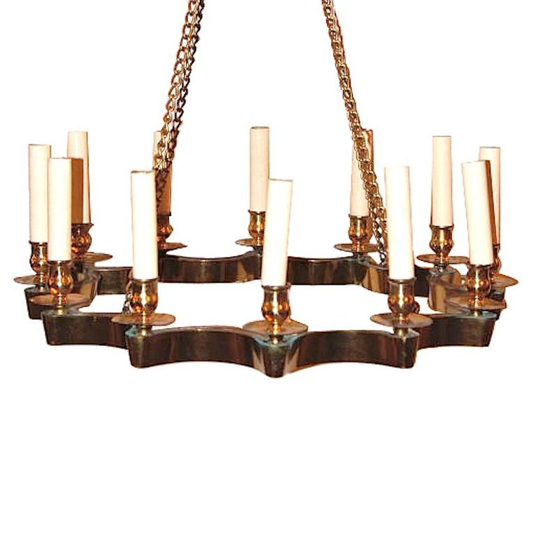Set of 3 Moderne Star Shaped Gilt Chandeliers, Sold Individually In Good Condition For Sale In New York, NY
