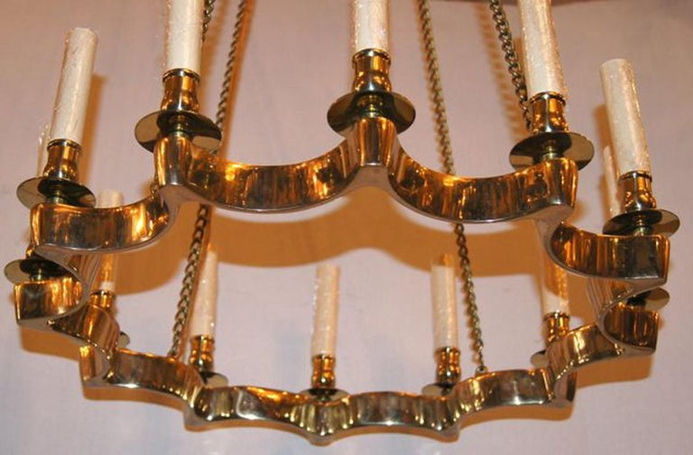 Mid-20th Century Set of 3 Moderne Star Shaped Gilt Chandeliers, Sold Individually For Sale