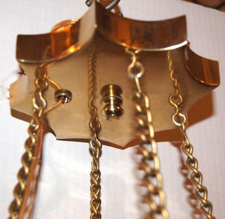 Bronze Set of 3 Moderne Star Shaped Gilt Chandeliers, Sold Individually For Sale