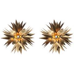 Star Shaped Palm Tree Style Brass Sconces