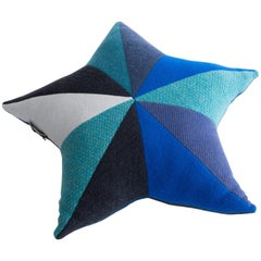 Star-Shaped Patchwordk Pillow in Blue Cashmere by Greg Chait, 2017
