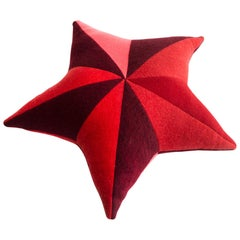 Star-Shaped Patchwordk Pillow in Red Cashmere by Greg Chait, 2017
