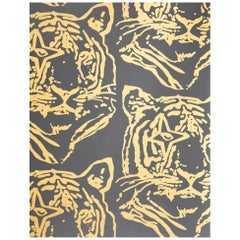 Star Tiger Designer Wallpaper in Color Eclipse 'Metallic Gold on Black'