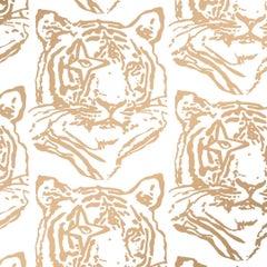 Star Tiger Designer Wallpaper in Color Sphinx 'Metallic Gold on Soft White'