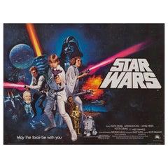 'Star Wars' Original Vintage British Quad Movie Poster by Tom Chantrell, 1977