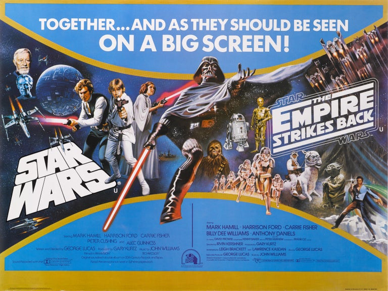 Original British double bill film poster for Star Wars and The Empire Strikes Back.
