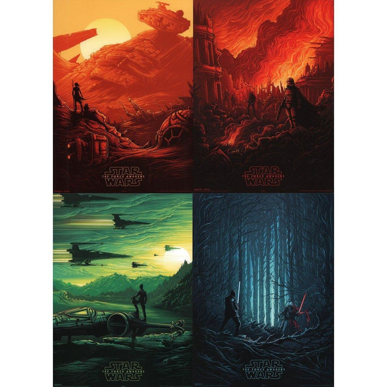 """Original 2015 U.S. mini poster by Dan Mumford for the film """"Star Wars: The Force Awakens"""" (Star Wars: Episode VII - The Force Awakens) directed by J.J. Abrams with Daisy Ridley / Carrie Fisher / Mark Hamill / Adam Driver. Fine condition, rolled."""
