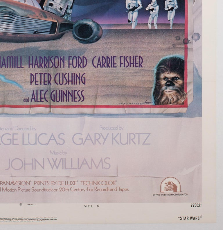 American Star Wars US 1 Sheet Style D Original Film Movie Poster, Struzen, 1977 For Sale