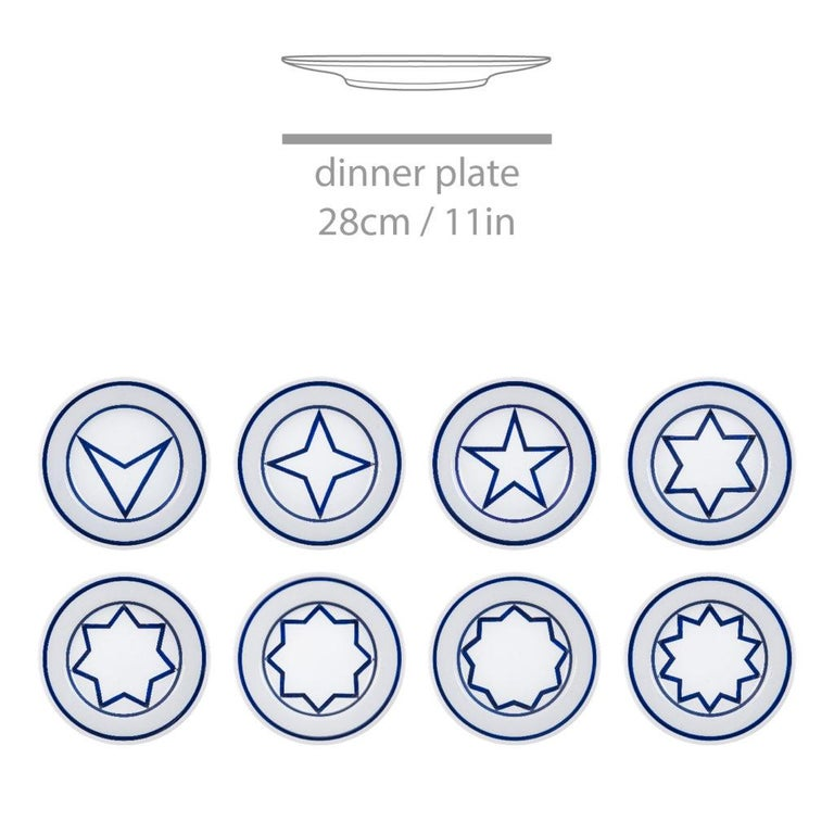 Star within two circles dinner service designed 1984/fabricated now set of 24 salad plates, dinner plates and pasta bowls 8 salad plates 8