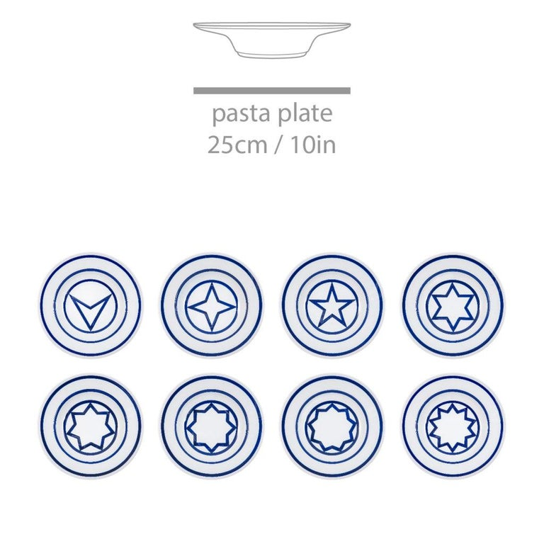 Minimalist Star Within Two Circles Dinner Service 'Cobalt' by Sol LeWitt For Sale