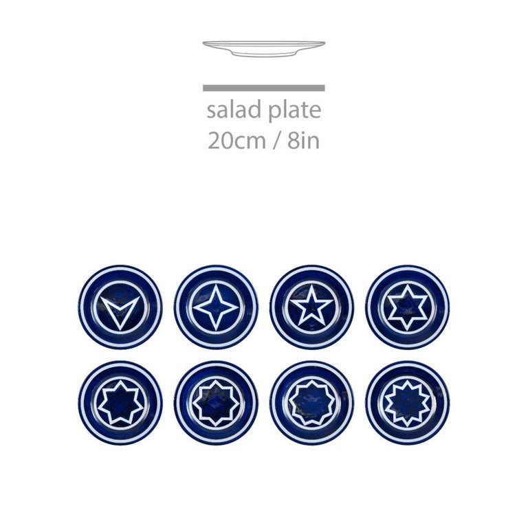 Italian Star Within Two Circles Dinner Service 'Cobalt' by Sol LeWitt For Sale