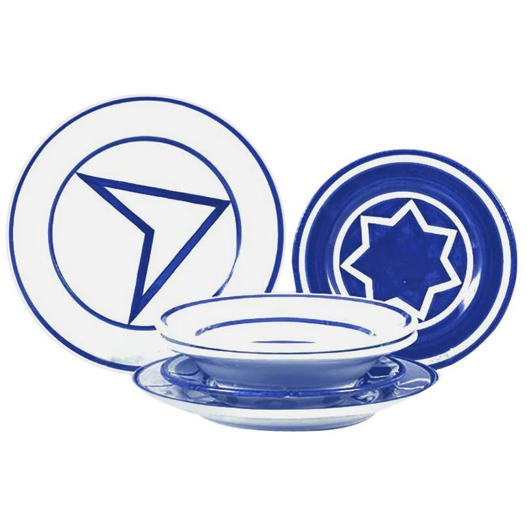 Star Within Two Circles Dinner Service 'Cobalt' by Sol LeWitt For Sale