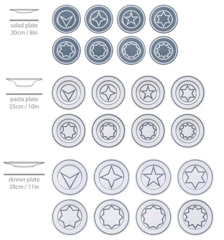 Star within two circles dinner service designed 1984/fabricated now set of 24 salad plates, dinner plates and pasta bowls  8 salad plates: 8