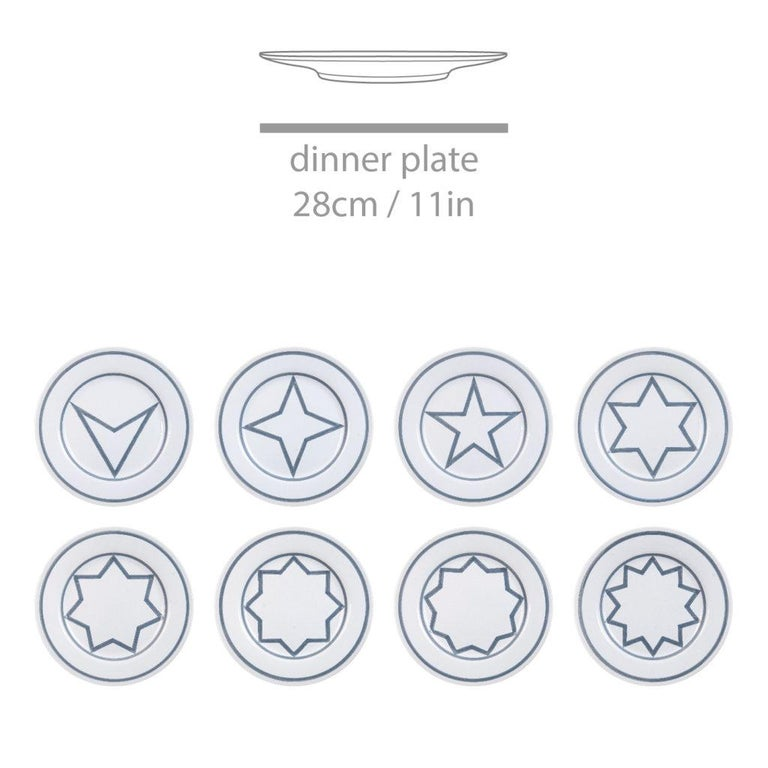 Minimalist Star Within Two Circles Dinner Service 'Grey' by Sol LeWitt For Sale