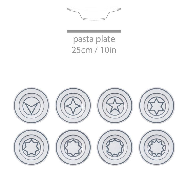 Italian Star Within Two Circles Dinner Service 'Grey' by Sol LeWitt For Sale