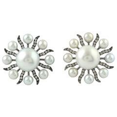 Starburst 15.4 Carat Pearl 18 Karat Gold Diamond Stud Earrings