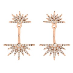 18 Karat Gold Sun Diamond Ear Jacket Earrings