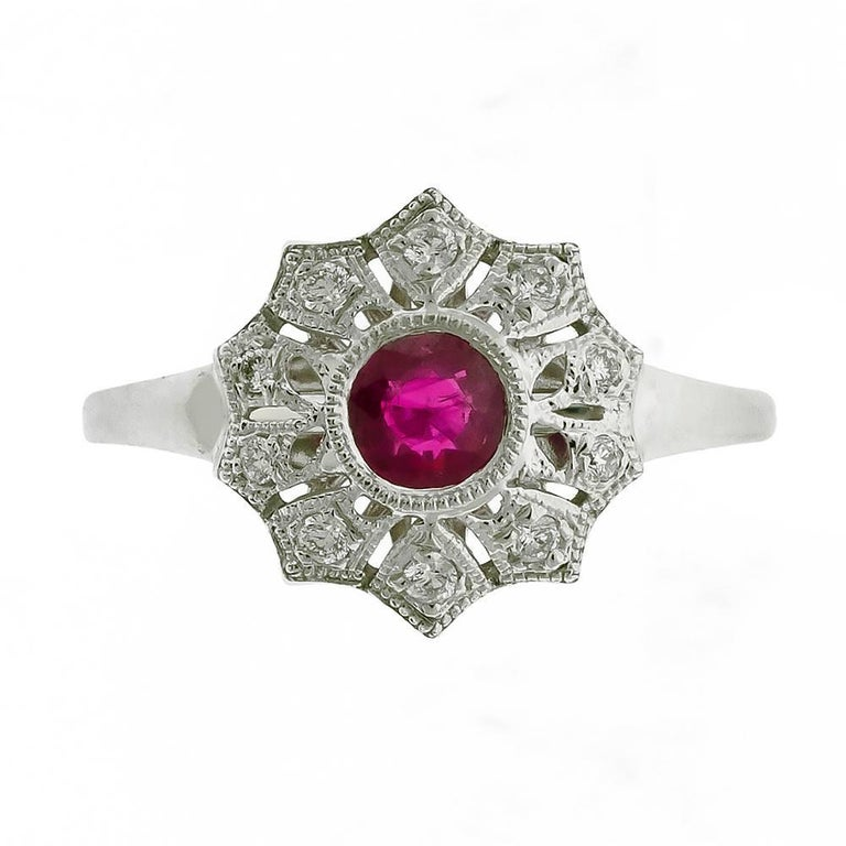 Starburst Art Deco Style Ruby Cluster Diamond 18 Carat White Gold Dress Ring