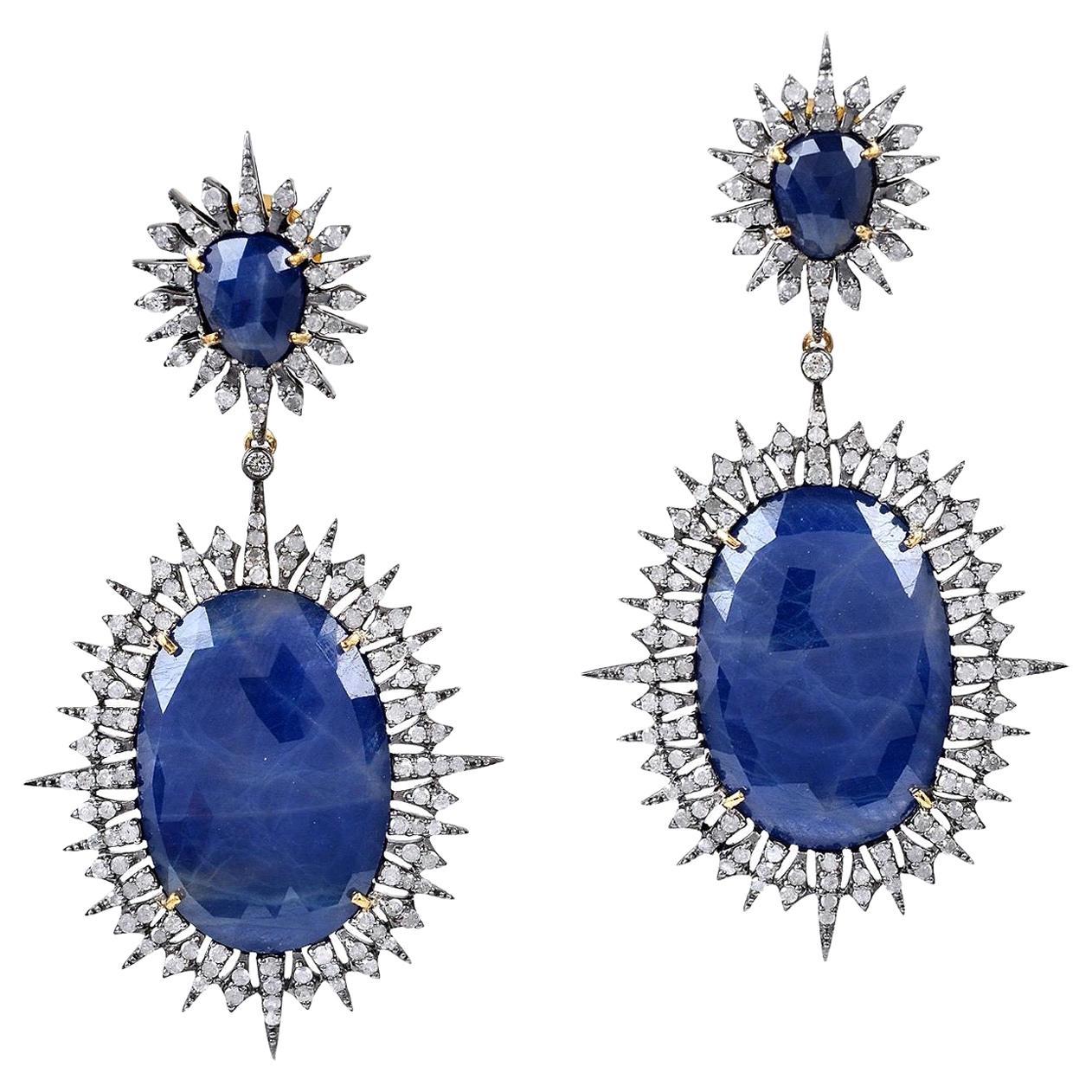 Starburst Blue Sapphire Diamond Earrings