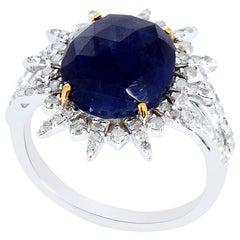 Starburst Blue Sapphire and Diamond Ring