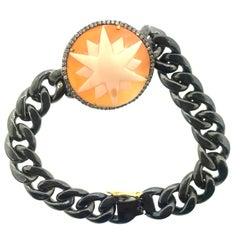 Starburst Cameo Link Diamond Bracelet Oxidized Sterling Silver, 14 Karat Gold