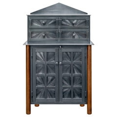 Jim Rose Starburst Pattern Cupboard with Chest of Drawers, Steel Art Furniture