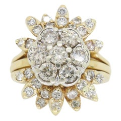 Starburst Diamond Cluster Ring