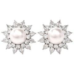 Starburst Diamond Pearl Platinum Earrings