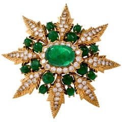 Starburst Emerald Cabochon and Diamond Yellow Gold Lapel Brooch