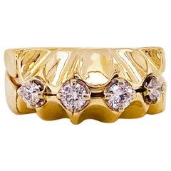 Starburst Ladies Ring with 4 Diamonds .40 Carat Total in 14 Karat Gold, 14 Karat