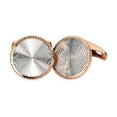 Starburst Limited Edition Round Cufflinks in Rose Gold & White Gold