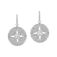 Starburst Medallion Earring on Pave Levers in 18 Karat White Gold
