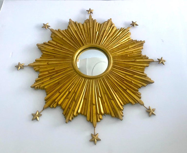 Baroque Starburst Mirror Hand Carved with Antique Gold Leaf Finish For Sale