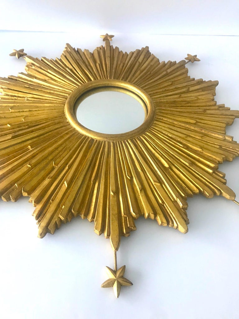 Hand-Carved Starburst Mirror Hand Carved with Antique Gold Leaf Finish For Sale