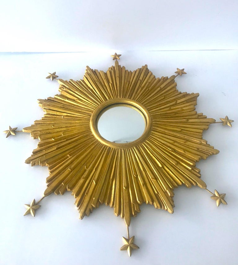 Late 20th Century Starburst Mirror Hand Carved with Antique Gold Leaf Finish For Sale