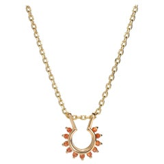 Starburst Necklace in 14 Karat Gold and Orange Sapphires