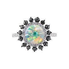 Starburst Paraiba Opal and Diamond Ring