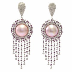 Starburst Pink Pearl Ruby and Diamond Earrings