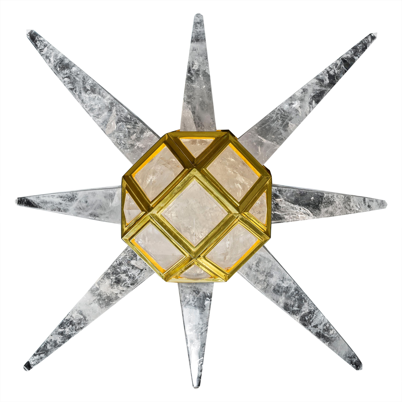 Starburst Rock Crystal 24-Karat Gold-Plated Bronze Wall-Light Sculpture